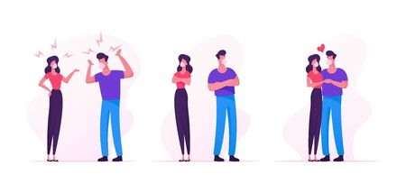 Couple Characters Quarrel, Swear during Covid19 Pandemic Quarantine Self Isolation. Man and Woman in Medical Mask Fighting. Family Scandal between Husband and Wife. Cartoon People Vector Illustration Illustration