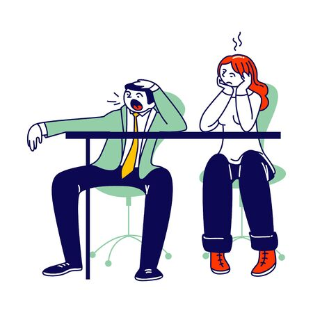 Procrastination, Overwork Burnout Symptoms Concept. Lazy, Boring or Tired Business Man and Woman Characters with Low Energy Yawning at Working Place or Bored Meeting. Linear People Vector Illustration