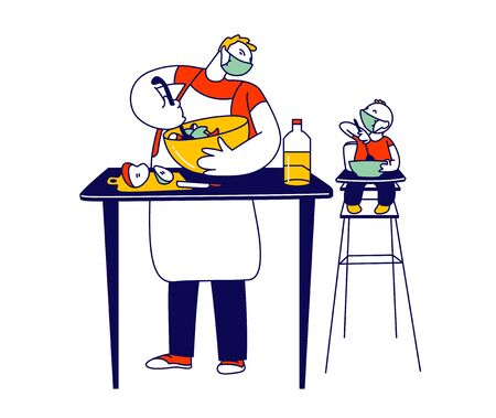 Happy Family Characters Routine. Single Father in Medical Mask Cook Dinner on Kitchen with Baby Son Sit in High Chair. Covid19 Quarantine Sparetime and Home Duties. Linear People Vector Illustration