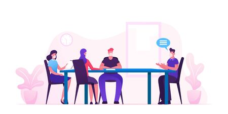 Business Meeting in Office during Covid19 Pandemic. Businesspeople Characters in Medical Masks around Table Planing Start Up Project and Solving Finance Problems. Cartoon People Vector Illustration Ilustracje wektorowe