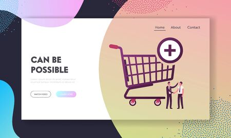 Male Characters Shaking Hands at Huge Shopping Trolley Landing Page Template. Procurement, Goods Purchase and Successful Deal between Seller and Buyer, Logistics. Cartoon People Vector Illustration Illustration