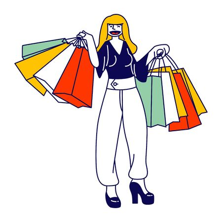 Young Woman Shopaholic Character Stand with Many Colorful Shopping Bags in Hands. Girl Shopper with Bad Habit or Addiction Making Lot of Useless Purchases in Mall or Store. Linear Vector Illustration