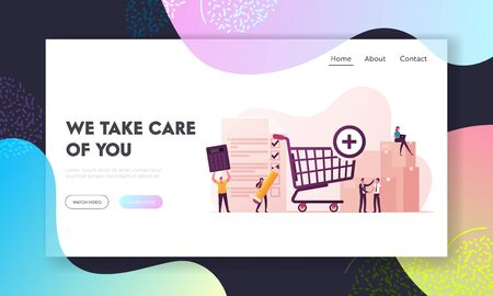 Procurement Landing Page Template. Process of Purchasing Goods or Services with Tiny Business Characters with Huge Shopping Trolley, Calculator and Pen Making Deal. Cartoon People Vector Illustration