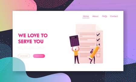 Procurement, Goods Distribution and Governance Landing Page Template. Female Character Put Ticks on Document, Man Hold Huge Calculator, Caterer Purchase Process. Cartoon People Vector Illustration