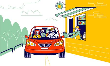 Convenient Payment from Car, Drive Thru System. Characters Pay for Takeaway Food Service with Credit Card Pos Terminal