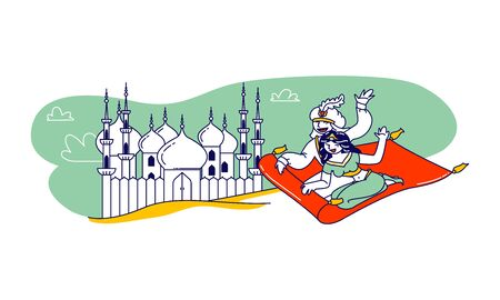 Aladdin and Jasmine Princess Characters Escape from Palace on Flying Carpet. Plot of Arabian Fairytale, Love Story Scene, Oriental Culture, Fantasy Book Personages. Linear People Vector Illustration