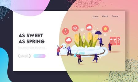 Freezing Spring and Climate Change Landing Page Template. Tiny Characters Walking near Flower Bed Covered with Snow. People Carry Thermometer and Umbrella, Make Snowman. Cartoon Vector Illustration