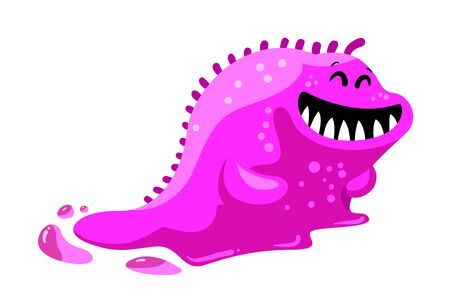 Friendly Toothy Slug Monster, Alien with Pink Slime Body Isolated on White Background. Fantasy Beast, Funny Creature, Germ or Joyful Cute Smiling Worm. Cartoon Vector Illustration, Icon, Clip Art