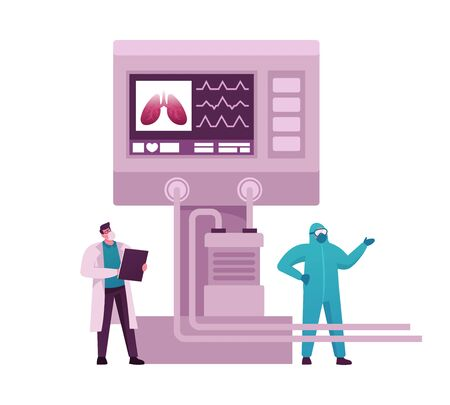 Doctor Characters in Intensive Care Emergency Room with Artificial Oxygen Lung Ventilation Electronic Monitor. Covid-19 and Coronavirus Identification, Pandemic. Cartoon People Vector Illustration Vectores