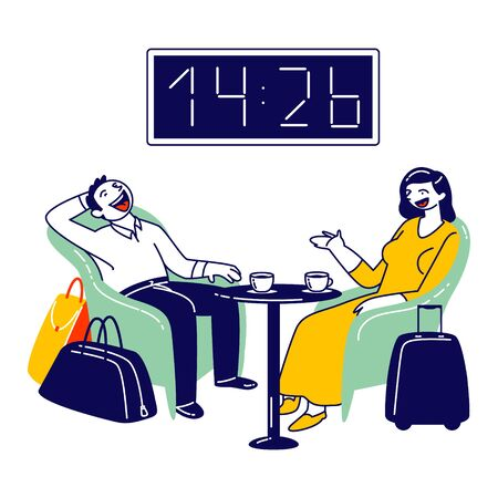 Businesswoman and Businessman Characters Sitting at Airport Business Lounge Wait for Flight. Cheerful Man and Woman Sitting on Armchairs with Coffee in Waiting Area. Linear People Vector Illustration Vettoriali