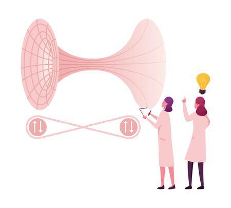 De minuscules personnages féminins scientifiques résolvent la théorie des champs de la mécanique quantique fondamentale et les formules de tunneling. Développement de la science contemporaine, recherche scientifique. Illustration vectorielle de gens de dessin animé