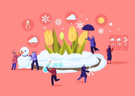 Freezing Spring and Climate Change Concept. Tiny Male and Female Characters Walking near Flower Bed Covered with Snow. People Carry Thermometer and Umbrella, Make Snowman. Cartoon Vector Illustration