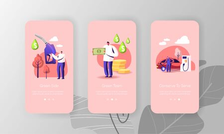 Petrol Economy Mobile App Page Onboard Screen Template. Tiny People Characters Refueling Car on Fuel Station. Man Pumping Gasoline Oil in Auto Filling Gas Service Concept. Cartoon Vector Illustration