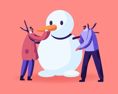 Young Man and Woman Characters Wearing Warm Clothing Making Funny Snowman. Freezing Spring or Winter Time Outdoor Activity. People Playing on Holidays, Weekend, Vacation. Cartoon Vector Illustration
