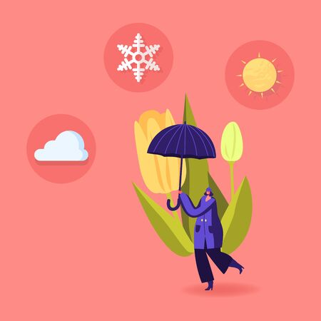 Cold and Freezing Spring Weather Concept. Tiny Female Character Carry Huge Umbrella with Snowflake, Cloud and Sun at Blooming Tulip Flower and Low Temperature Outside. Cartoon Vector Illustration