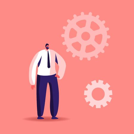 Tiny Male Character Stand at Huge Gears and Cogwheel Parts of Mechanism, Hard Working Businessman Time or Work Process Concept. Man Workaholic Routine, Science Statistics. Cartoon Vector Illustration