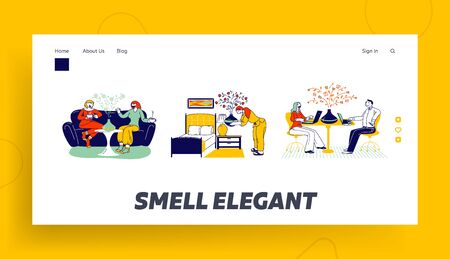Aromatherapy Landing Page Template. Characters Using Aroma Oil Diffuser Lamp at Home for Wellbeing and Relaxation. Women Chatting on Sofa, Couple Work on Laptops. Linear People Vector Illustration