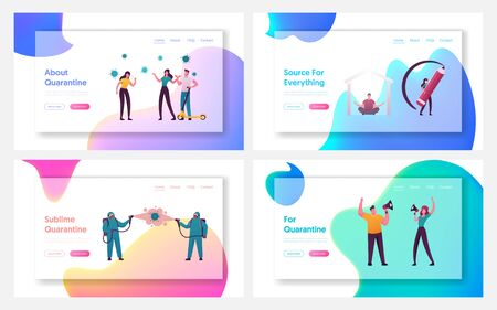 Flatten Curve of Covid19 Pandemic Landing Page Template Set. Tiny Characters at Presenting Spreading of Epidemic with Protective Measures and Without on Data Charts. Cartoon People Vector Illustration