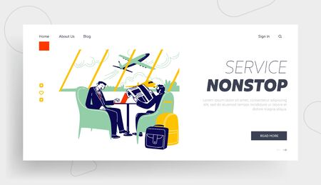 Businessmen Characters at Airport Business Lounge Wait Flight Landing Page Template. Men Sitting on Armchairs in Waiting Area Working on Laptop, Reading Newspaper. Linear People Vector Illustration
