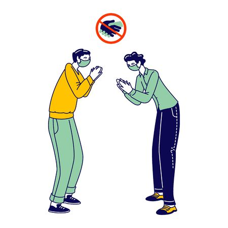 Male Characters Clap Hands Greeting Each Other Instead of Handshake. Friends or Colleagues Alternative Non-contact Greet During Covid19 Pandemic. Distancing, Safety. Linear People Vector Illustration