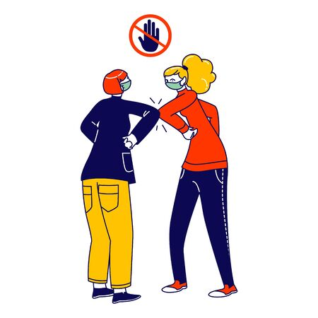 Characters Greeting Each Other with Elbows Instead of Handshake. Friends or Colleagues Alternative Non-contact Greet During Covid19. Health Safety, Social Distancing. Linear People Vector Illustration