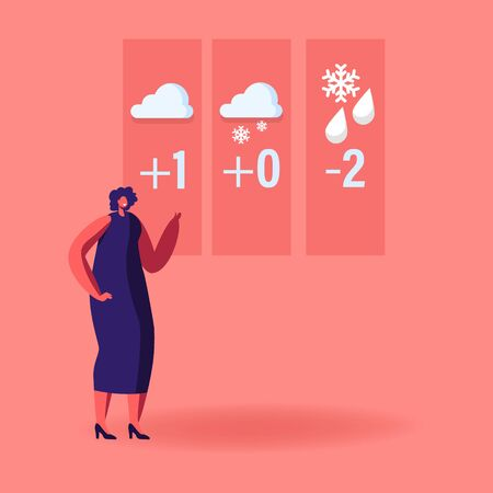 Television Anchorwoman Character at Studio Forecast Weather During Live Broadcasting. Woman Meteorologist Announcer Reporter Forecasting Snowy and Rainy Spring in Tv News. Cartoon Vector Illustration