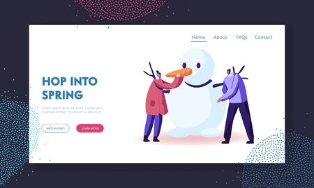 Freezing Spring or Winter Time Outdoor Activity Landing Page Template. Man and Woman Characters Wearing Warm Clothing Making Funny Snowman. People Playing on Holidays. Cartoon Vector Illustration Illustration