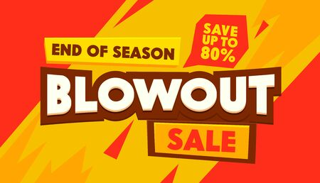 Blowout Sale Social Media Promo Ad Poster, Banner with Typography. Background with Abstract Shapes. Branding Template Design for Shopping Discount, Backdrop Content Decoration. Vector Illustration Ilustração Vetorial