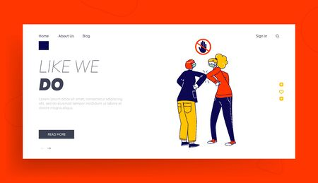 Characters Greeting Each Other with Elbows Instead of Handshake Landing Page Template. Friends or Colleagues Non-contact Greet During Covid19, Social Distancing. Linear People Vector Illustration