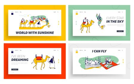 Arabian Fairytale Landing Page Template Set. Fantasy Personages Aladdin and Jasmine Princess Characters Flying on Carpet in Desert, Camel Caravan, and Genie in Lamp. Linear People Vector Illustration