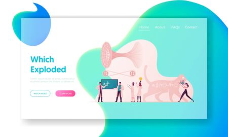 Scientific Landing Page Template. Tiny Scientists Characters Solve Quantum Mechanics Formulas, Cat of Schrodinger Equation, Quantum Field Theory and Tunneling. Cartoon People Vector Illustration