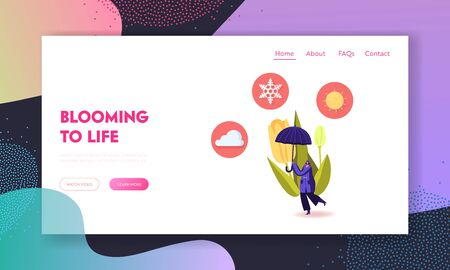 Cold and Freezing Spring Weather Landing Page Template. Tiny Female Character Carry Huge Umbrella, Cloud and Sun at Blooming Tulip Flower and Low Temperature Outside. Cartoon Vector Illustration