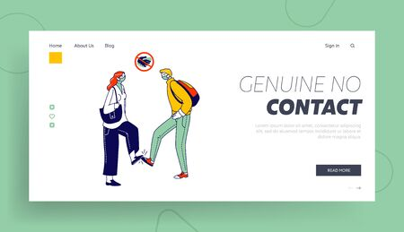Friends or Colleagues Alternative Non-contact Greet During Coronavirus Epidemic Landing Page Template. Characters Greeting Each Other with Feet Instead of Handshake. Linear People Vector Illustration Illustration