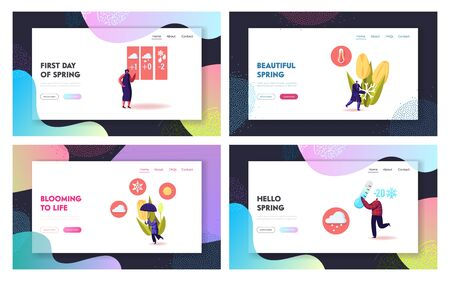 Freezing Spring and Cold Weather Landing Page Template Set. Tiny Characters Walking near Flower Bed Covered with Snow. People Make Snowman, Carry Thermometer and Umbrella. Cartoon Vector Illustration Illustration