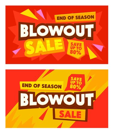 Set Advertising Banners with Blowout Sale Typography. Abstract Background, Social Media Promo Branding Template Design for Shopping Discount. Backdrop Content Memphis Decoration. Vector Illustration