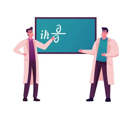 Male Scientists Characters Stand at Chalkboard Trying to Solve Formula or Equation in Quantum Mechanics Field. University Professors Discussing Scientific Theory. Cartoon People Vector Illustration