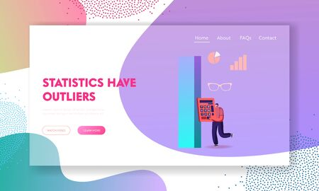 Audit or Science Statistics Landing Page Template. Administrator, Business Man, Financial Inspector or Secretary Character Making Report Calculating Balance, Checking Data. Cartoon Vector Illustration