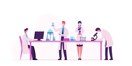 Chemistry, Pharmaceutical Scientists Characters in Chemical Laboratory Search Covid19 Vaccine with Computer, Microscope and Flasks. Science Research Process in Lab. Cartoon People Vector Illustration Illustration