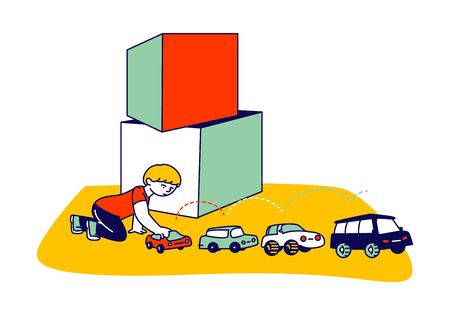 Little Boy Character with Autism Disorder Sitting on Floor Playing with Cars Set Up by Row. Child Playing with Toys