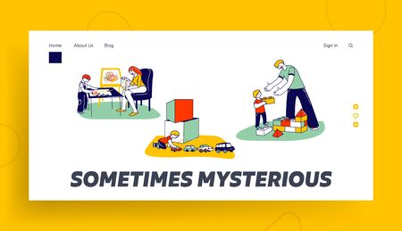 Autism Landing Page Template. Little Children Characters with Mental Disorder, Boy Building Tower of Blocks