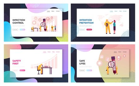 Coronavirus Test Landing Page Template Set. Doctor Characters in Protective Costumes Make Express Test