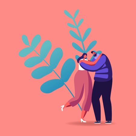 Peace, Love Relation, Togetherness Concept. Happy Loving or Friends Couple Hugging Outdoors. Man and Woman Characters Spend Time Together Embrace and Rejoice. Cartoon People Vector Illustration Imagens