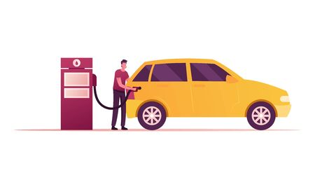 Gas Station Worker Character Pouring Fuel in Car with Filling Gun. Employee at Petroleum Station or Auto Owner Refueling Automobile, Transport Gasoline Service for Drivers. Cartoon Vector Illustration Vector Illustration