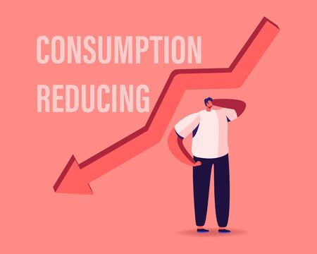 Consumption Reducing, Saving Money Concept. Tiny Male Character Stand at Huge Red Arrow Falling Down. Searching Modern Solutions of Saving Budget by Lowering Consumption. Cartoon Vector Illustration