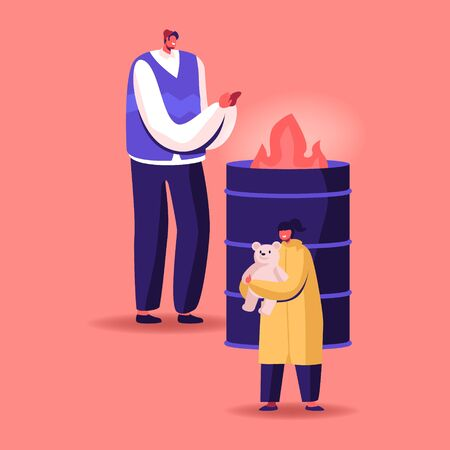 Man and Little Girl with Toy Stand at Metal Barrel with Burning Fire Warming Hands. Illegal Immigrants, Beggars, Poor Characters Homeless People Living on Street Lost Work. Cartoon Vector Illustration