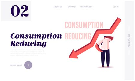 Consumption Reducing, Saving Money Landing Page Template. Tiny Male Character at Huge Falling Arrow. Searching Modern Solution of Saving Budget by Lowering Consumption. Cartoon Vector Illustration
