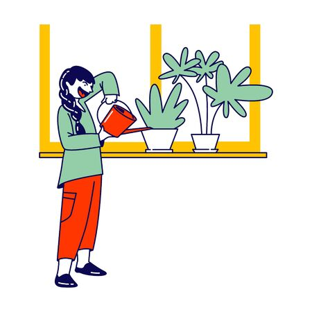 Child Helper Watering Home Plant in Flowerpot on Windowsill from Watering Can. Gardening Hobby, Girl Character Care of Domestic Flower in Pot at Home or Greenhouse, Chores. Linear Vector Illustration