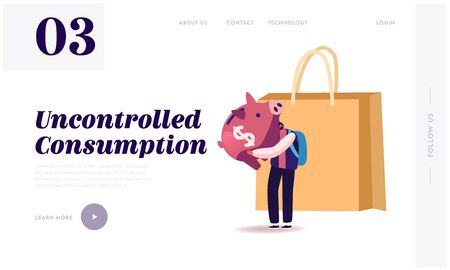 Consumption Reducing, Open Bank Deposit Landing Page Template. Tiny Man Character with Huge Piggy Bank at Shopping Bag. Saving Finance Budget, Collect Money in Thrift-box. Cartoon Vector Illustration