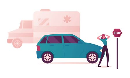 Desperate Woman Holding Head Stand at Car and Stop Road Sign on Ambulance Van on Background. Female Character Eyewitness of Accident on Street, Earthquake Aftermath. Cartoon Vector Illustration