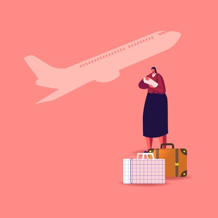 Female Character with Newborn Baby on Hands with Luggage Bags and Flying Airplane on Background. Illegal or Legal Immigrant, Refugee Woman with Child Leaving Country. Cartoon Vector Illustration Vektoros illusztráció